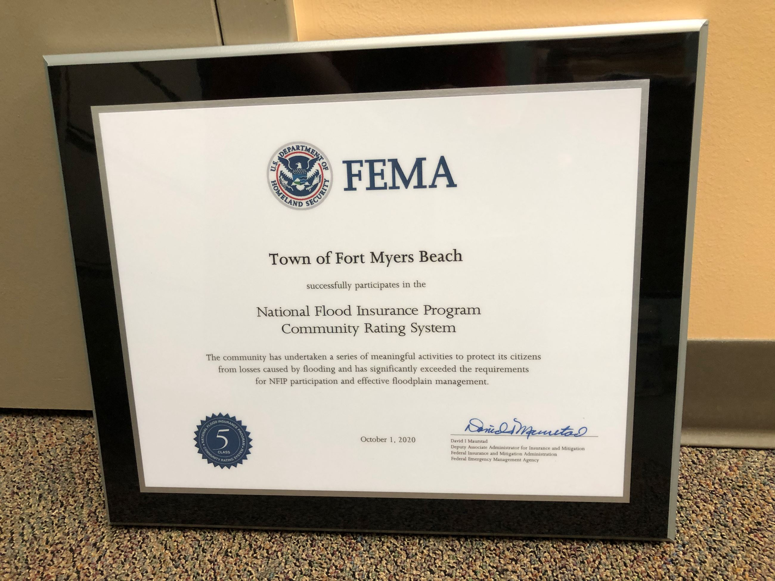 FEMA award plaque 9-2020