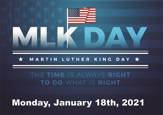 Federal holiday honoring Martin Luther King JR on January 18 2021