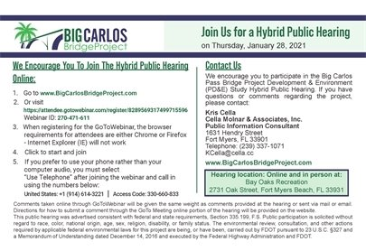 Hybrid Public hearing instructions for big carlos pass bridge project on january 28 2021