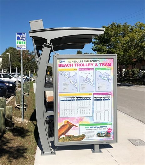 Beach Trolley & Tram sign at the new stop on bay street and estero boulevard