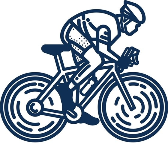 Stick drawing of person on bicycle