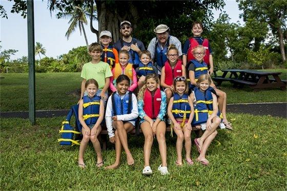 Summer camp kids at Mound House after kayaking