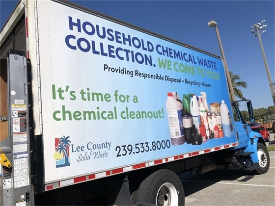 Picture of the truck used by Lee County Solid Waste that advertises household chemical waste collection