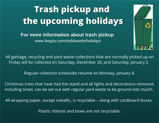 Trash pickup and the upcoming holidays 2020