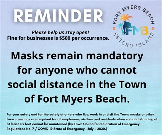 Reminder that masks remain mandatory when social distancing cannot be maintained