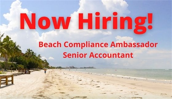 Image of the beach with the words now hiring beach compliance ambassador and senior accountant
