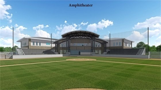 Artist's rendering of future amphitheater on the back of the building