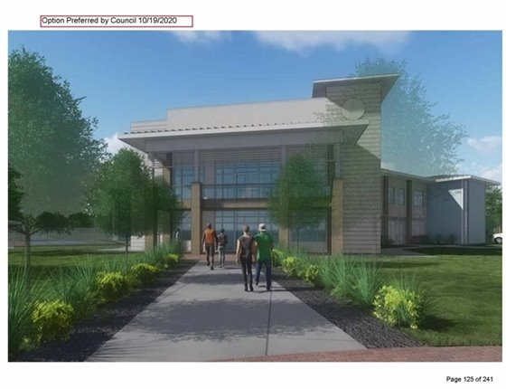 Artist's rendering of future program building for Bay Oaks Recreational Campus