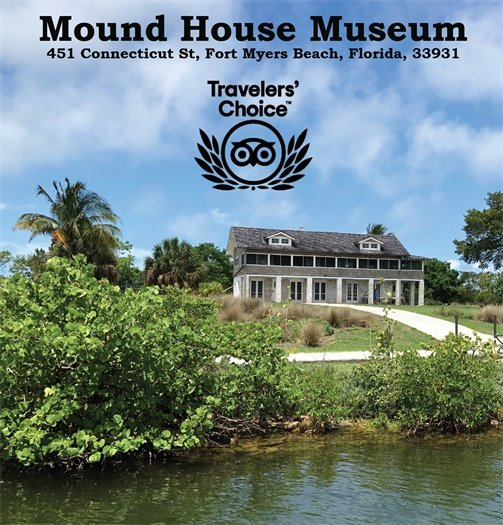 Picture of Mound House from the back bay with the Museum address and logo of Traveler's Choice award