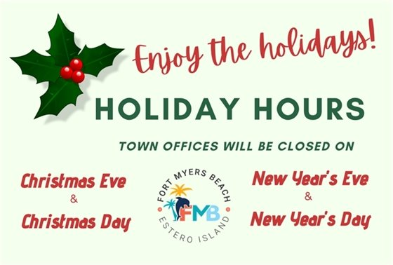Holiday hours for Town offices on Christmas and New Year's