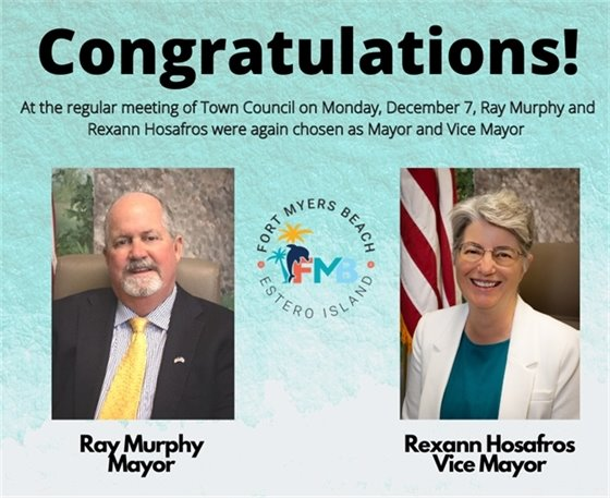 Congratulations to Ray Murphy and Rexann Hosafros for being selected again as Mayor and Vice Mayor