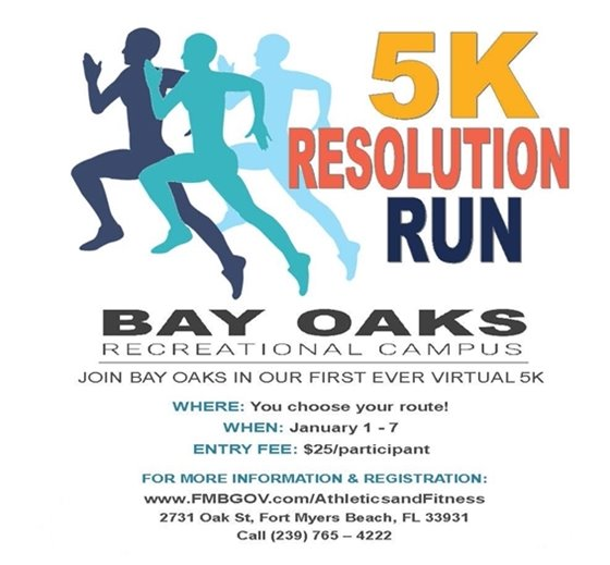 Bay Oaks is hosting its first ever virtual 5K run January 1-7