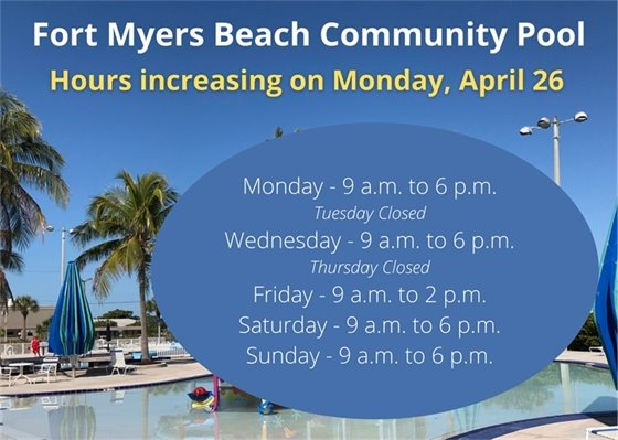 Pool hours will be increasing starting on April 26