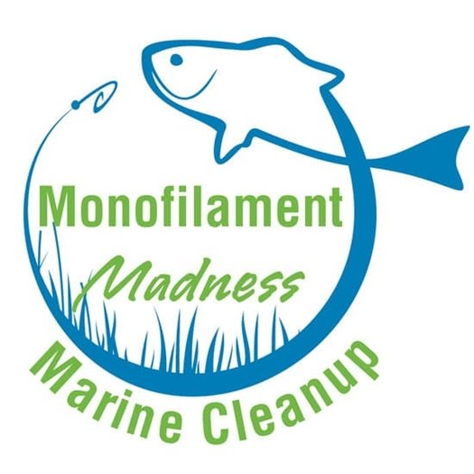 Monafilament Madness Marine Clean Up graphic blue and green with fish and grass