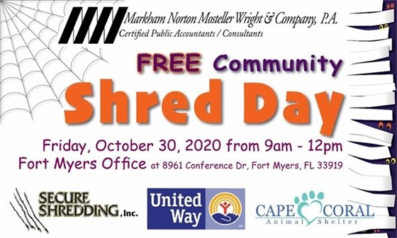 Community shred day October 30 at 8961 Conference Drive in Fort Myers 9 am-Noon