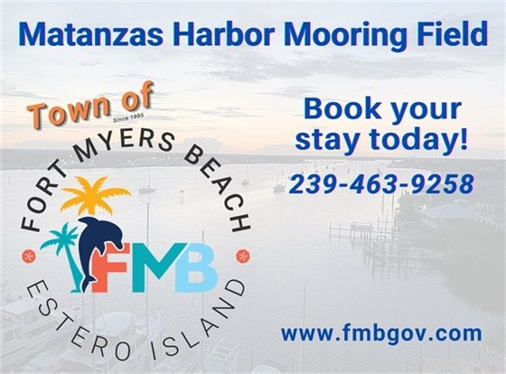 Graphic with Town logo and phone number to book stays at Mooring Field - 239-463-9258