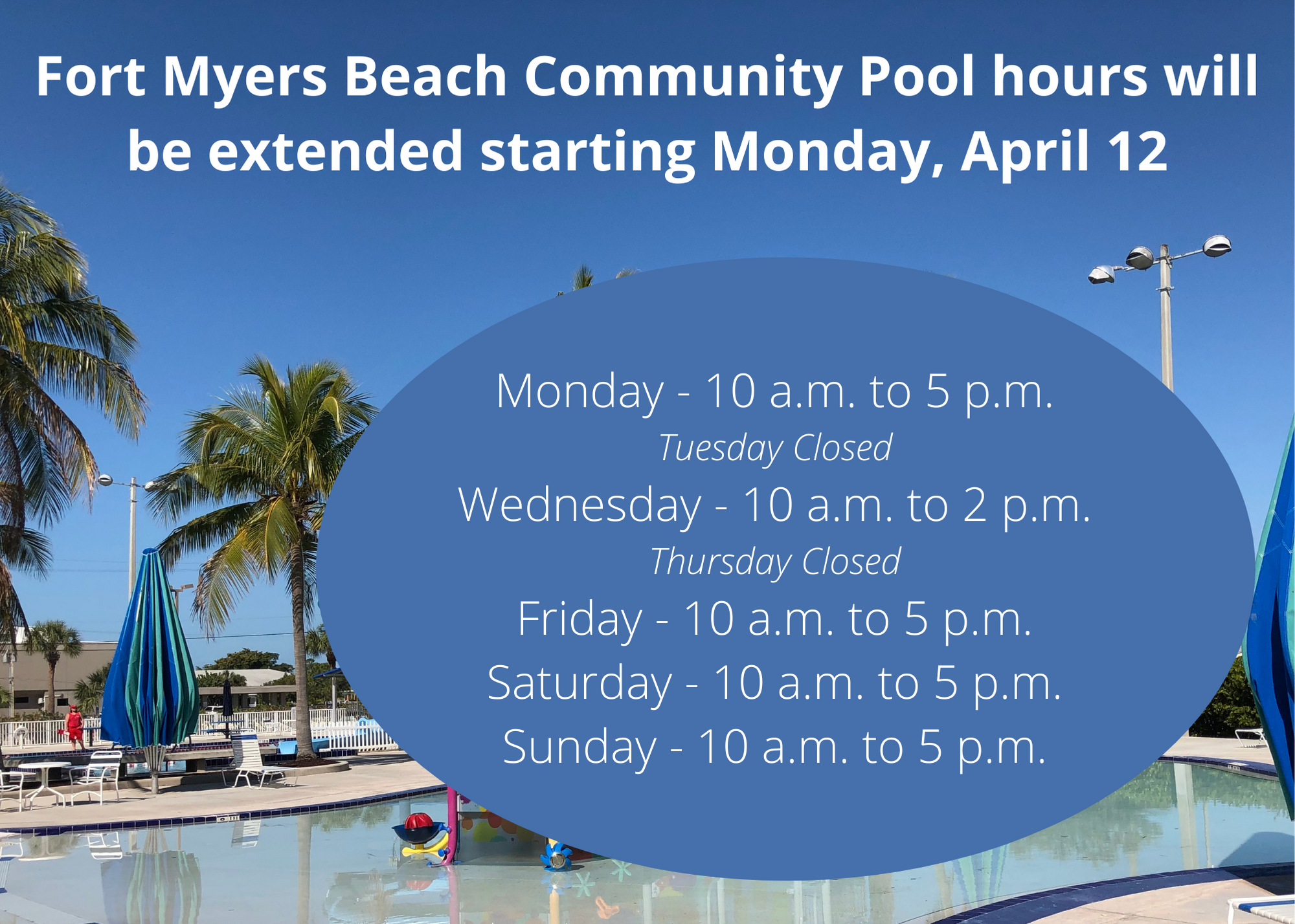 Pools hours changing april 12